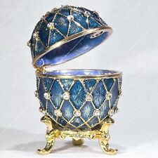 2'' EASTER ENAMELED BLUE EGG TRINKET BOX TRELLIS RUSSIAN TRADITIONS OF FABERGE