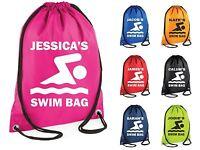 Personalised Swim Bag Gym Bag Swimming Drawstring School PE Kit Sack Sports Kids