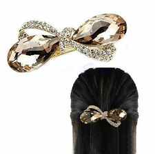 Crystal Rhinestone Oval Bowknot Hair Clip Clamp Hairpin Headwear UK SELLER