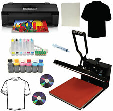 15x15 Heat Press,Epson 1430 Printer,CISS, Dye Ink,Heat Press Tshirt Transfer Kit