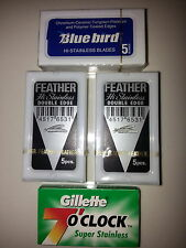 FEATHER BLUEBIRD & GILLETTE 7 O'CLOCK Blade Sampler DE Blades FBG