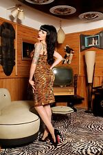 Pin Up Girl Deadly Dames Tiger Animal Leopard Wiggle 50's Vintage Dress 18 3xl