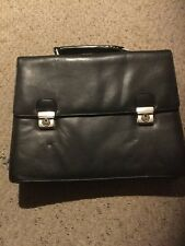 "Pre Owned Leather Brief Case.  Black. Locking.  15"" X 12"" X 5.5"".  See Pictures."
