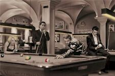 Marilyn Monroe and CHRIS CONSANI Game of Billiards 24X36 inch Poster Dean Elvis