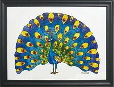 Original oil painting Stained glass Painting Art Glass Home decor peacock