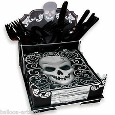 20cm gotico teschio terrore Halloween festa CARD PAPER NAPKIN Cutlery holder box