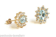 9ct Gold Blue Topaz Cluster Studs earrings Gift Boxed Made in UK