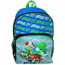 "Backpack 16"" Mariokart Wii DS Mario Bros School Bag NWT Blue Bring It"