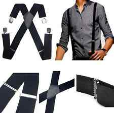 Fashion Men's Black Elastic Suspenders Leather Braces X-Back Adjustable Clip-on