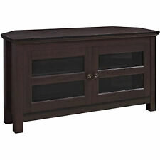 Corner TV Stand Espresso Media Console Entertainment Center Furniture Wood Glass