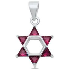 Star of David Ruby .925 Sterling Silver Pendant