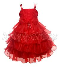 NEW Kid Flower Girl Pageant Wedding Party Formal Birthday Dress Red SZ 7-8 Z637D