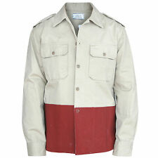 OFFICINE GENERALE Paris $395 painted colorblock canvas military shirt jacket NEW