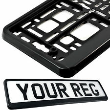 PURE BLACK Car Number Plate Surround Holder FOR ANY CAR TRUCK VAN TRAILER TUNING