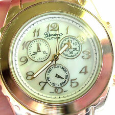 Vintage LADIES LARGE GENEVA PLATINUM GOLD&IVORY COLOR  WATCH  NICE