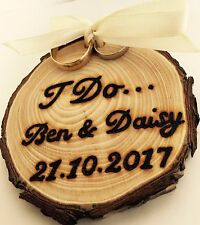 Personalised Wooden Tree Slice Wedding Rings Holder Alternative Natural Rustic