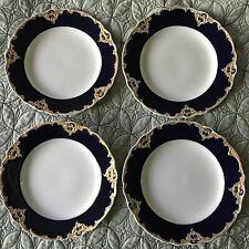 Lovely Set of 4 Antique Meissen Cobalt Blue & Gold Plates
