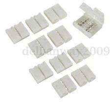 10x 4 Pin 10mm PCB Connecteur clipsage 2 strip ruban LED 5050 RGB sans soudure