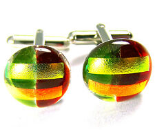DICHROIC Fused GLASS Cuff Links Red Green Yellow Gold Orange Men's Formal Wear