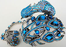 Peacock cuff bracelet slave ring set fashion jewelry A23 silver blue crystal