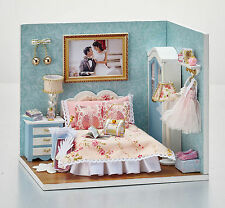 New Dollhouse Miniature DIY Kit with Cover Wood Toy doll house sweet bedroom