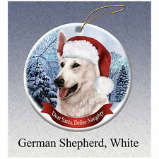 German Shepherd White Howliday Porcelain China Dog Christmas Ornament