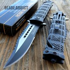TAC FORCE Black Spring Assisted Open SAWBACK BOWIE Tactical Rescue Pocket Knife