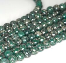 8MM GREEN IRON PYRITE INCLUSIONS GEMSTONE GRADE A ROUND 8MM LOOSE BEADS 7.5""