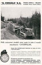 PUBBLICITA'  TRATTORE A CINGOLI CATERPILLAR  MINIERE CAVE ESCAVATORE STRADE 40