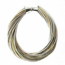 GORGEOUS HANDCRAFTED TRI-COLOR MULTI STRAND TWIST PIANO WIRE BRACELET