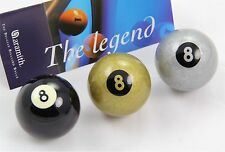 "Exclusive 2"" Aramith Premier BLACK, SILVER & GOLDEN 8 BALL Single Pool Cue Ball"
