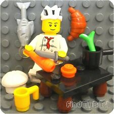 R1 Lego City Chef Cook Minifigure Food Counter Carrot Fish Croissant Pot NEW