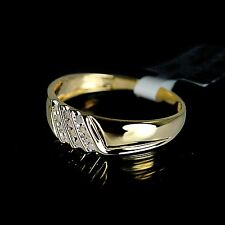 New Mens Yellow 10K Gold Genuine Real Diamond Ring Wedding Engagement Band
