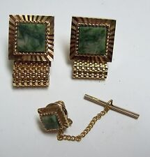 Vintage Goldtone Jade Wrap Around Cufflinks & Tie Tack