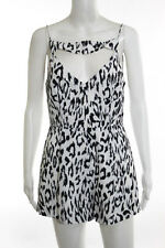 Finders Keepers White Black Sleeveless Cutout Detail Cheetah Print Romper Size M