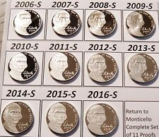 Return to Monticello Complete Set 11 Cameo Proof Jefferson Nickels 2006-s 2016-s
