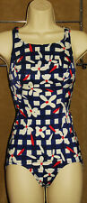 SEARS - Blue, White & Red - Floral 1 pc SWIMSUIT sz Medium *VINTAGE!