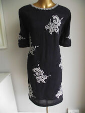 NAVY BLUE WHITE MONSOON EMBROIDERED UNUSUAL HESSIAN OCCASION TUNIC DRESS 16