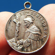 OLD ST DOMINIC MEDAL ANTIQUE ROSARY VIRGIN ORDER OF PREACHERS CHARM PENDANT