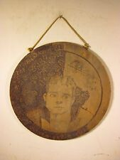 Antique 1904 Round Wood Burn Art Double Sided American Folk Art A.C.C. Baseball