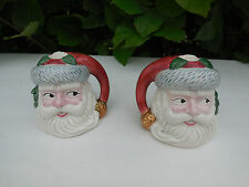 1991 OCI  FITZ & FLOYD CHRISTMAS HOLIDAY SANTA FACE TAPPERED CANDLE HOLDER PAIR