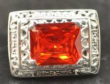 9.69 CT FIRE ORANGE QUARTZ STERLING SILVER ANTIQUE MENS RING SIZE 9.5 AWESOME