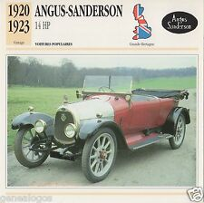 FICHE AUTOMOBILE GLACEE GB CAR ANGUS-SANDERSON 14 HP 1920-1923