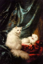 Perfect Oil painting carl kahler - 母亲的骄傲 - a mothers pride cats mother & babies