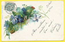 cpa LITHO VIOLETTES FEUILLES ET RUBANS FLOWERS VIOLETS LEAVES AND RIBBONS