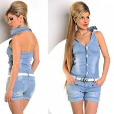 Shorts shorts & top Jumpsuit all in one playsuit stretchy soft denim material 14