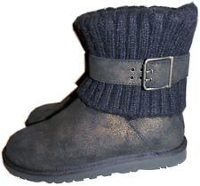 UGG Australia Cambridge Metallic Black Suede Boot Belted & Knit Booties 7 - 38