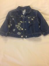 Baby Girls Size 12-18 Months Baby Gap Jean Jacket With Flowers EUC