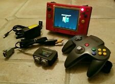 Red & Black 3D Printed Portable Nintendo 64 w/ Controller, A/V Cord, & Charger