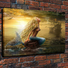 HD print beautiful mermaid and pirate ship Decorative painting on canvas 16x22